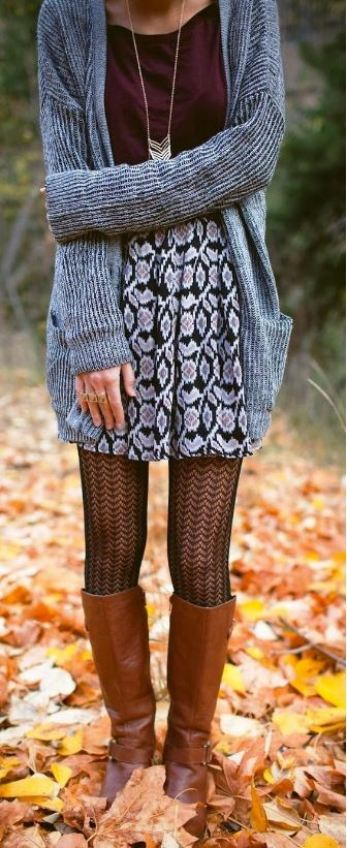These sheer tights and tan riding boots with the grey cardigan are a cute and comfy outfit for Thanksgiving!