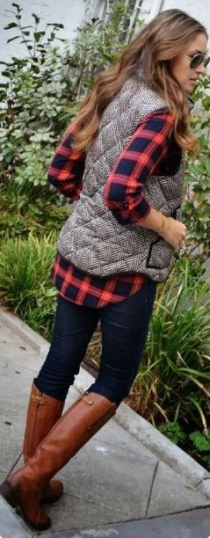 This plaid flannel is super cute underneath this vest!