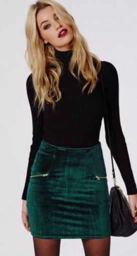 I love this casual holiday outfit or winter outfit with the turtleneck and velvet skirt!