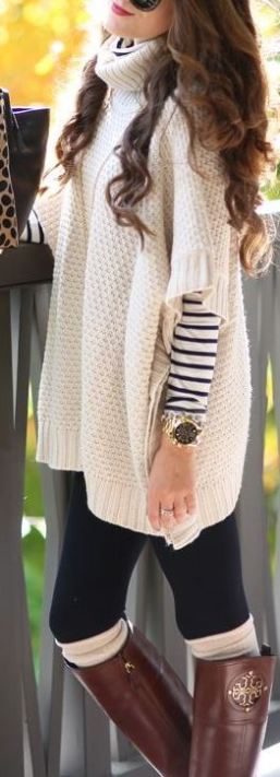 This sweater paired with leggings and and knee high socks is so cute and comfy for Thanksgiving!