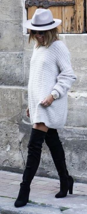 This fuzzy sweater dress and these black knee high boots are so cute and comfy for Thanksgiving!