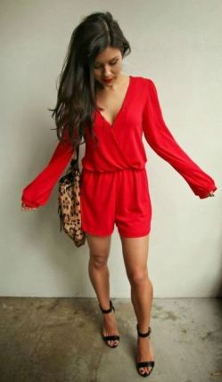 This red romper is perfect for a valentine's date!