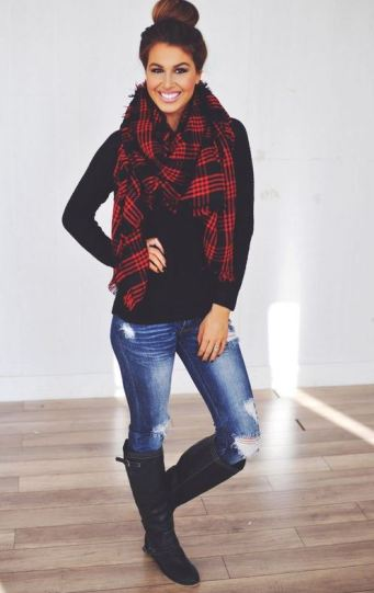 This plaid scarf is perfect for winter