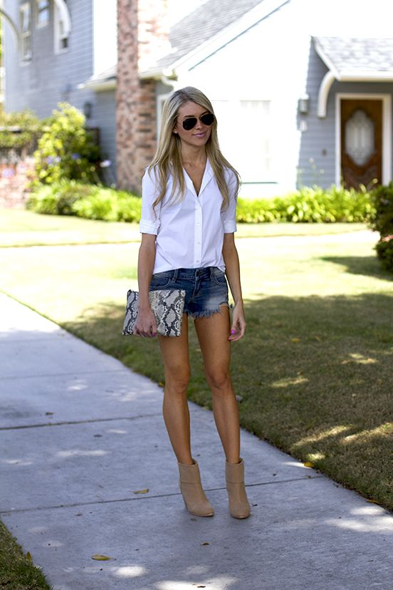 How To Wear Shorts With White Blouse And Ankle Boot