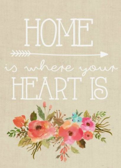 """cute """"home is where your heart is"""" quote print"""