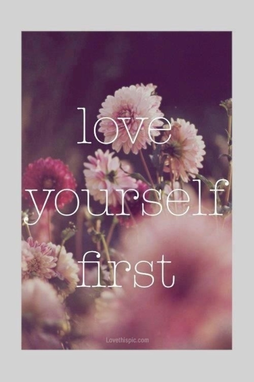 cute love yourself first canvas with flowers