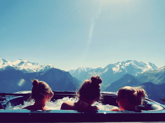 cool hot tub in the mountains