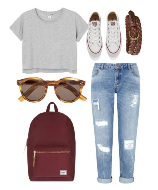 """On my first day of school, I would potentially wear: my black J Brand jeans, striped T-shirt from & Other Stories, and either Superga's or flat black sandals."