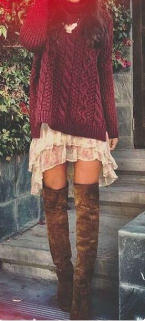 I love this maroon and burgundy sweater dress with the over the knee boots for fall!