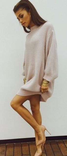 A sweater dress and heels is the great dressy look!