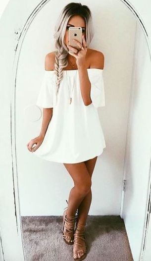 this white off the shoulder dress is so cute!