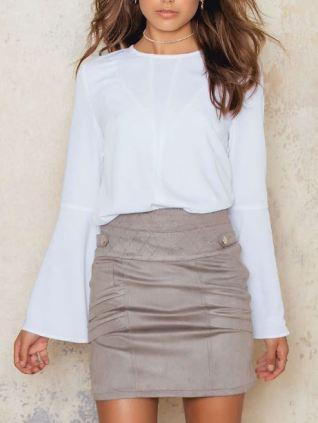 Suede Beige Skirt