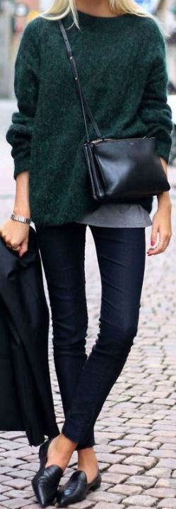 This emerald green sweater goes so perfect with these black flats