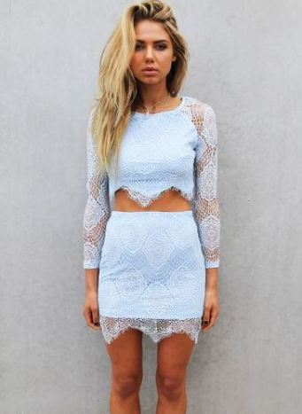 This light blue two piece dress set is so cute!
