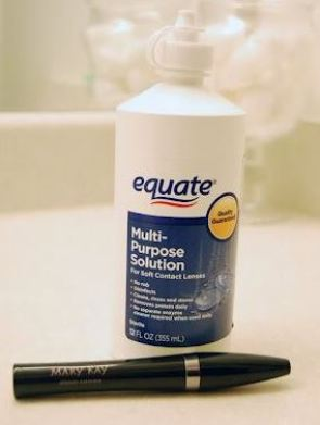 mixing contact solution with your mascara will help it last longer!