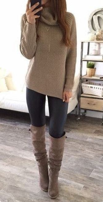 I love this turtleneck and matching boots with the leather leggings