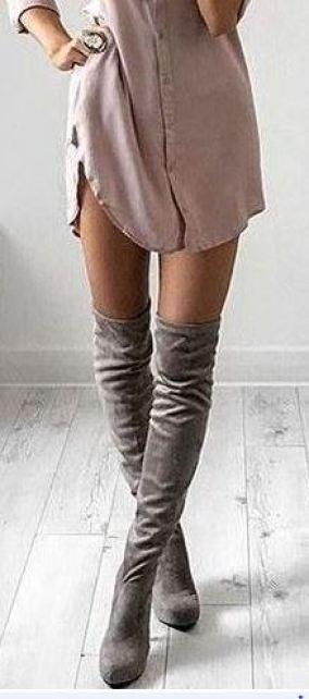 A shirt dress and over the knee boots make for a perfect fall outfit!