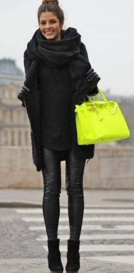 I love this pop of color with the all black outfit for winter