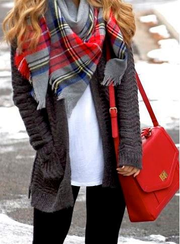 I love this plaid scarf and red purse for a cute winter outfit