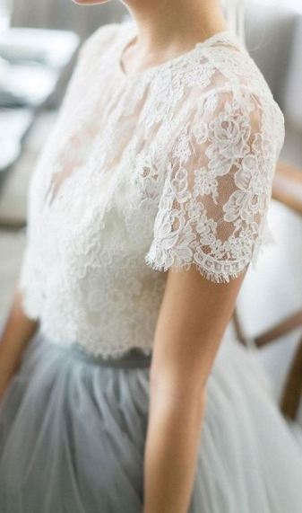 This white lace crop top with the matching tulle maxi skirt makes a gorgeous holiday party outfit!