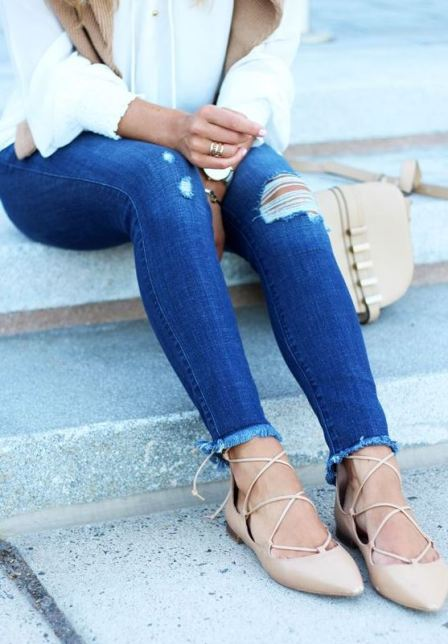 Lace up ballet flats are definitely fall fashion must haves!