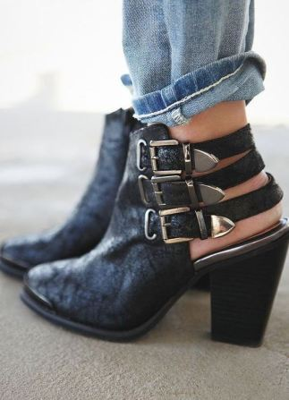 these black buckle booties are so cute