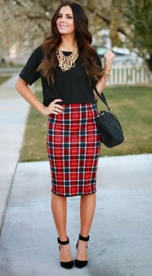 This plaid skirt is perfect for the holidays!