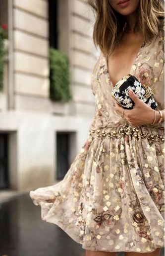 This gold dress is so cute for a holiday party!