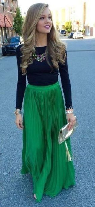 I love this flowy green maxi skirt!