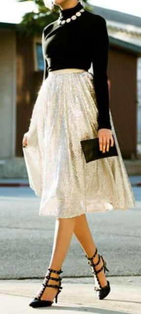 This sequin skirt with the black turtleneck is gorgeous.