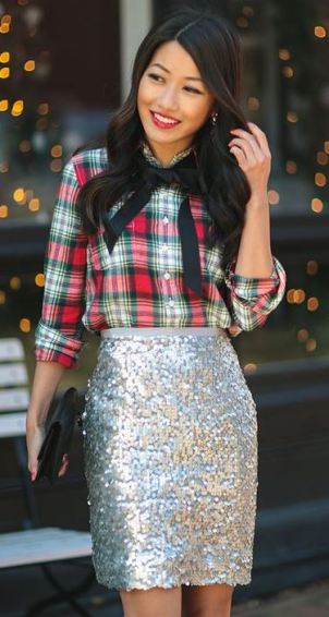 This plaid top and skirt is perfect for the holidays!