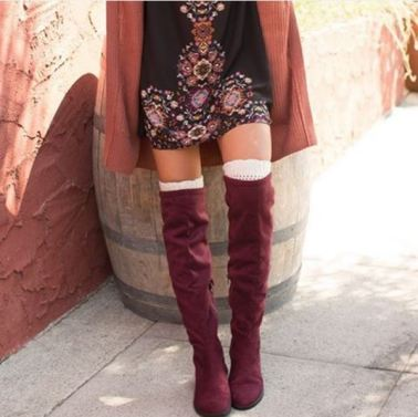 These burgundy knee high boots are perfect for the holidays!