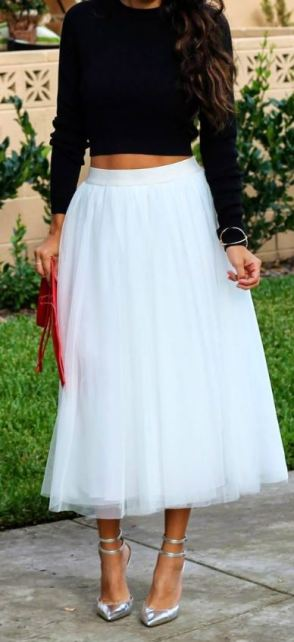 I love this white tulle skirt with these silver heels!