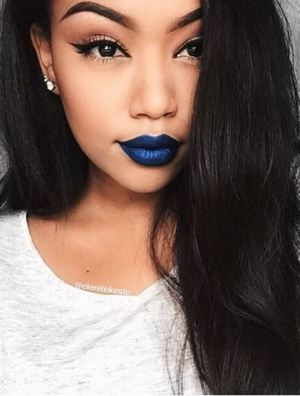I love this Denim Blue from Lime Crime paired with her hair!