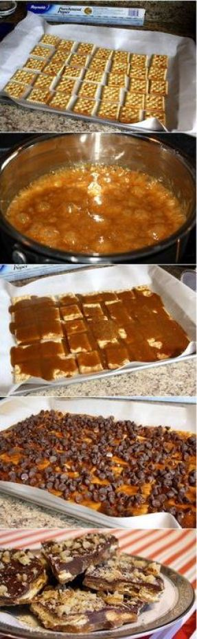 This candy toffee crack looks so good!