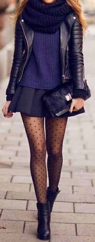 This outfit is so cute for the winter with these tights!