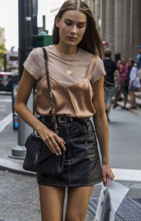 I love this satin cami layered over a t shirt spring outfit!