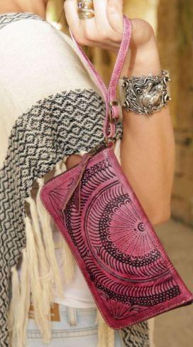 This boho chic indie wristlet wallet is so cute!