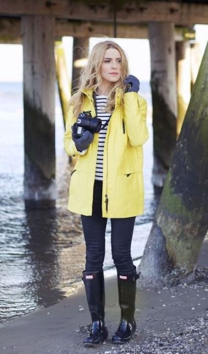 I love this yellow rain jacket with the rain boots!