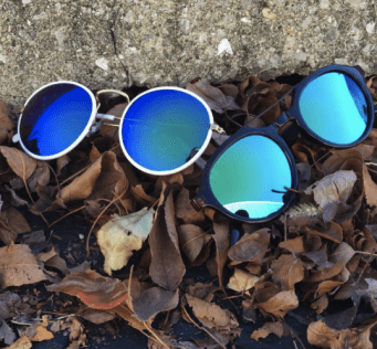 Mirrored blue sunglasses