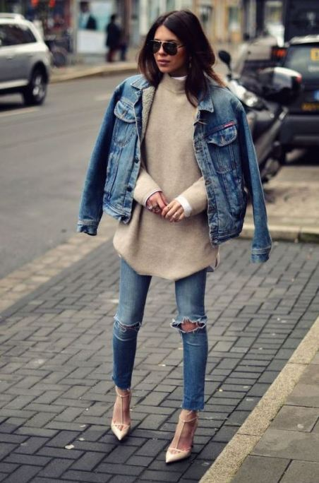 Denim is perfect for winter date night outfits!