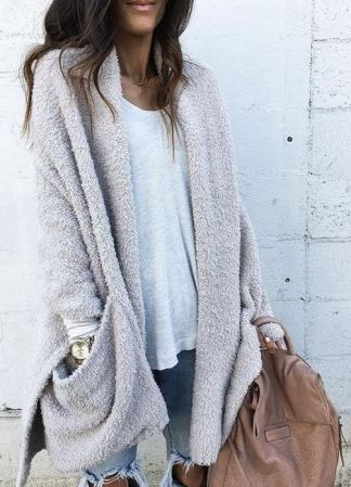 Fuzzy cardigans are perfect for winter date night outfits!