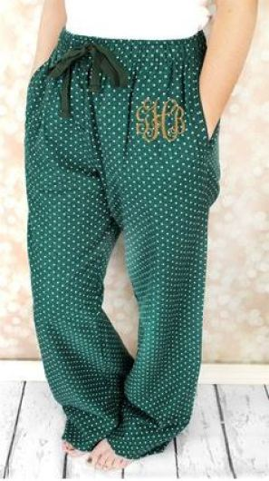 These monogrammed pajama pants are so cute!