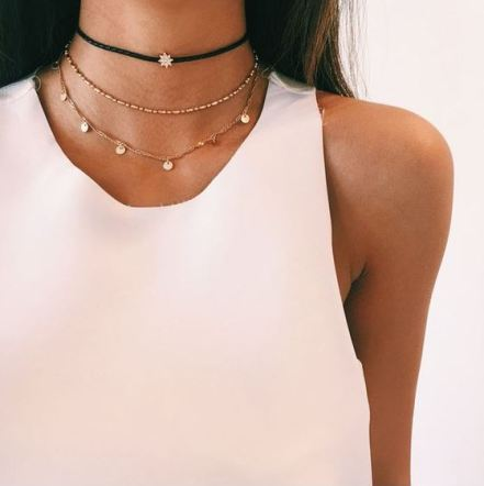 One of the best ways to wear chokers is by layering them!
