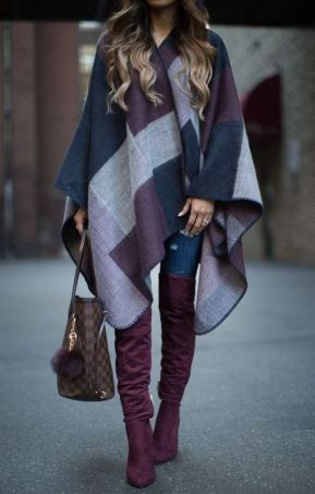 Ponchos are perfect for winter date night outfits!