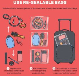 Using resealable bags is a great tip for how to pack for spring break in a carry on!