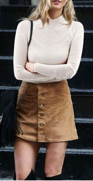 Suede skirts are perfect for winter date night outfits!