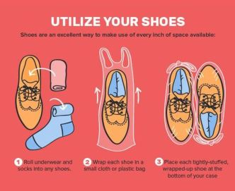 Utilizing your shoes is a great tip for how to pack for spring break in a carry on!