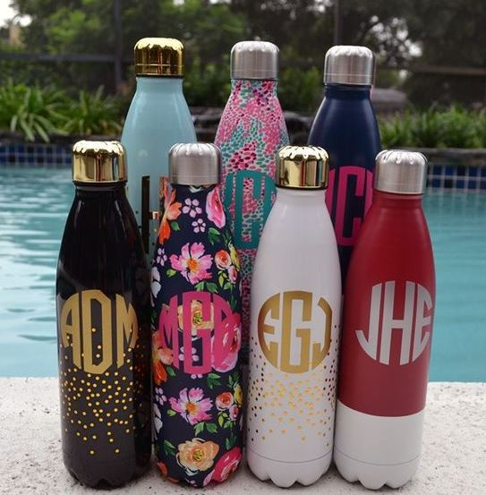 These monogrammed stainless steel water bottles are so cute!