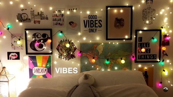 Pops of colored lights are great ways to decorate your dorm room!